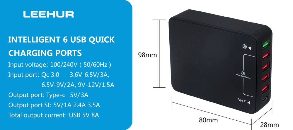 LeeHUR Qualcomm Certification 3.0 Smart Power Adapter Wall Charger Quick Charge Type-C 5 USB Output