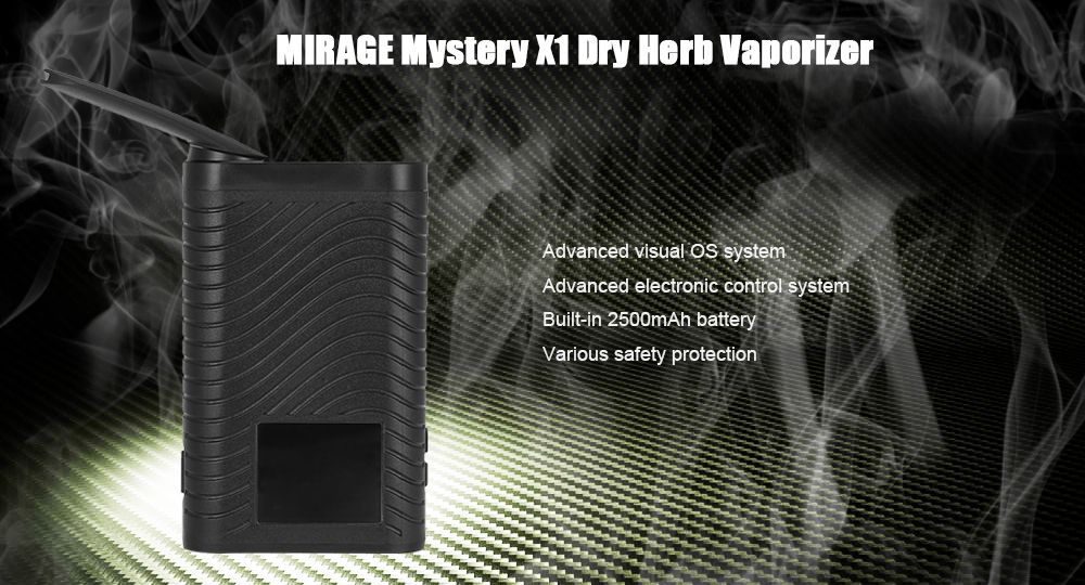 Original MIRAGE Mystery X1 Dry Herb Vaporizer with 2500mAh Battery / 100 - 500F TC / Visual OS System / 1.77 TFT LCD Screen / Folding Big Drip Tip for E Cigarette