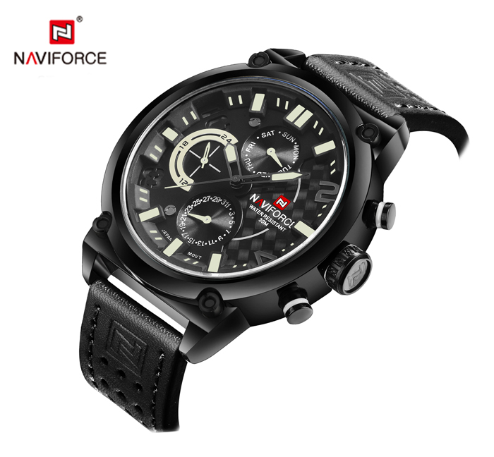 NAVIFORCE 9068L Colorful Glass Mirror Business Male Quartz Watch Stereo Dial Wristband