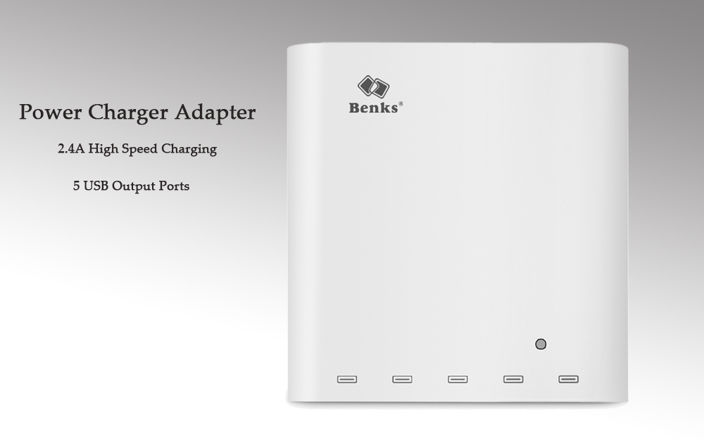 Benks A52 Travel Power Charger Adapter 2.4A High Speed Charging Dock with 5 USB Ports