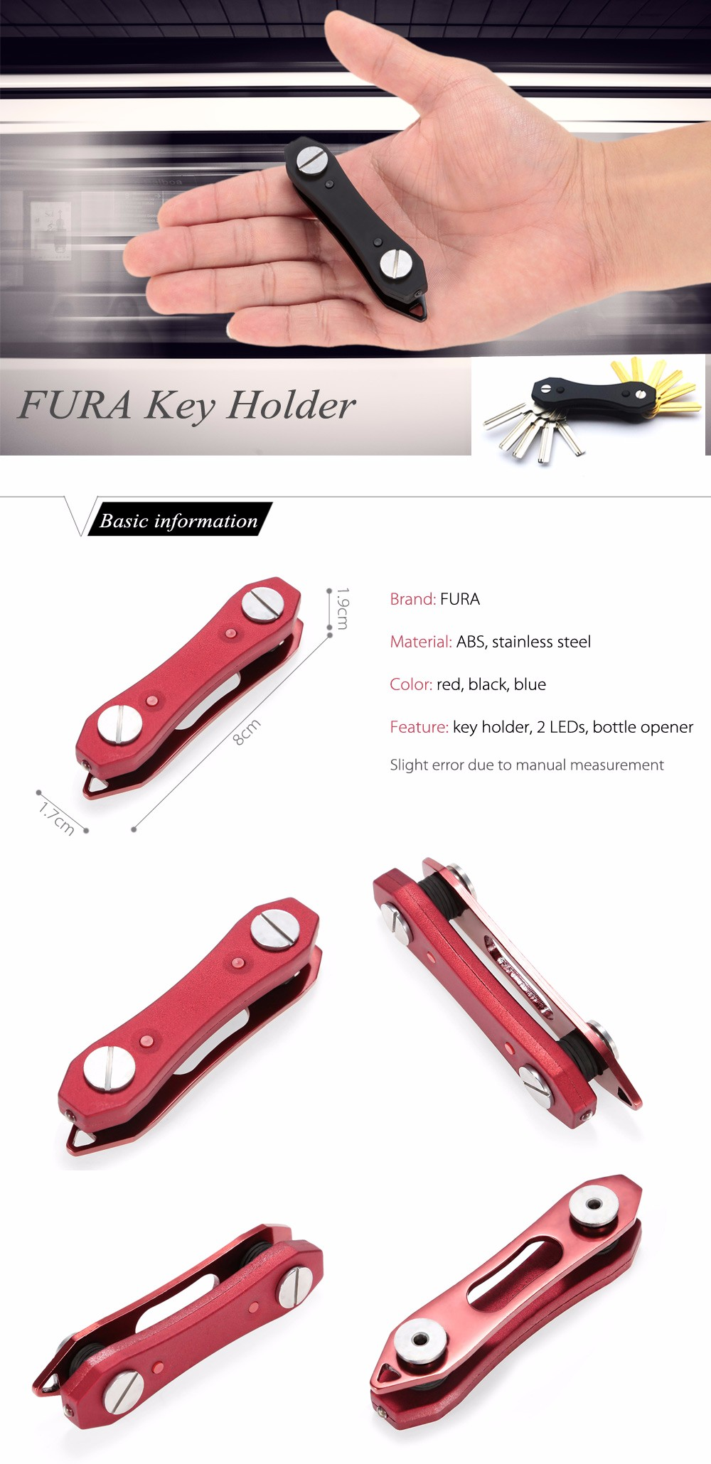 FURA ABS + Stainless Steel Key Holder with 2 LED Lights