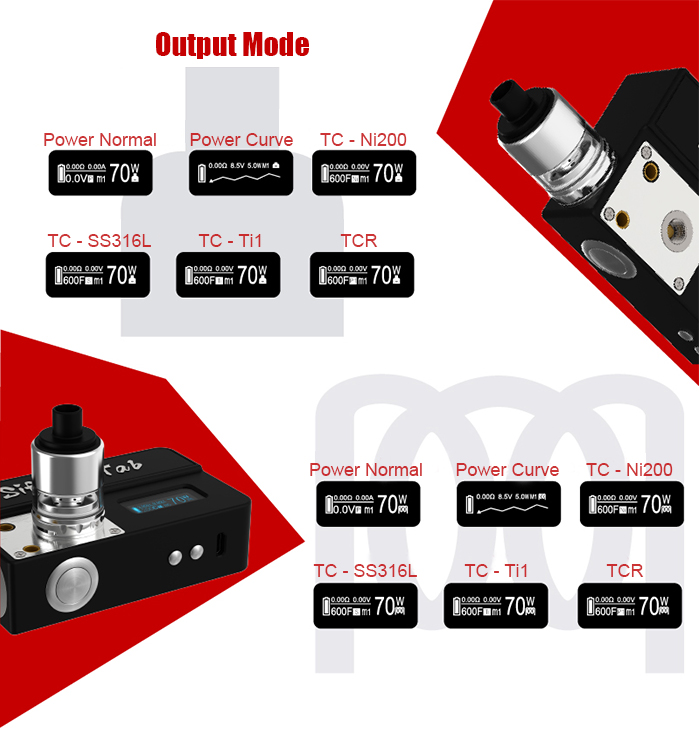 Original UD 2 in 1 Sifu B - Tab 70W TC Mod with 1 - 70W / 200 - 600F / Ohm Meter / Coil Burning Deck for E Cigarette