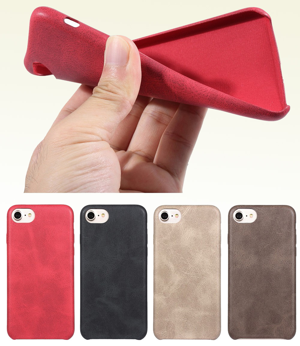 Luanke PU Leather Ultra-thin Matte Surface Protective Phone Back Case for iPhone 7