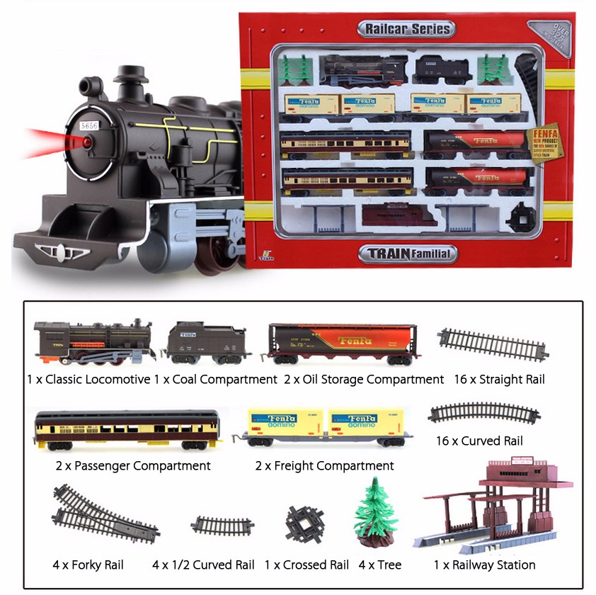 Fenfa 1:87 Scale Rail Car Series Electric Train Set with 30ft Track Sound Light Effect