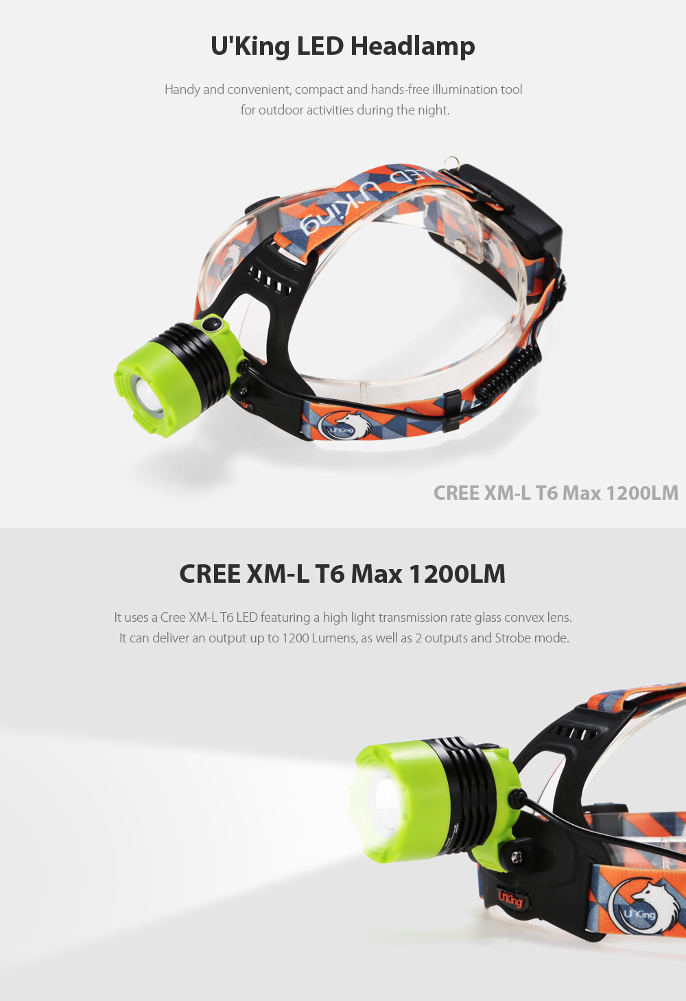 UKing ZQ - X8001 1200Lm Cree XML T6 18650 Zooming LED Headlamp