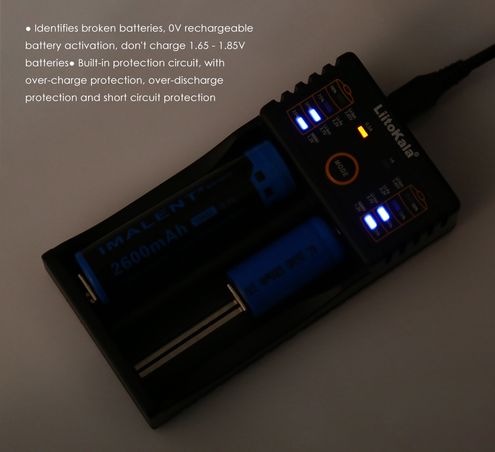 LiitoKala Lii - 202 2 Slots Smart USB Battery Charger Quick Charge Protection Circuit Indicator