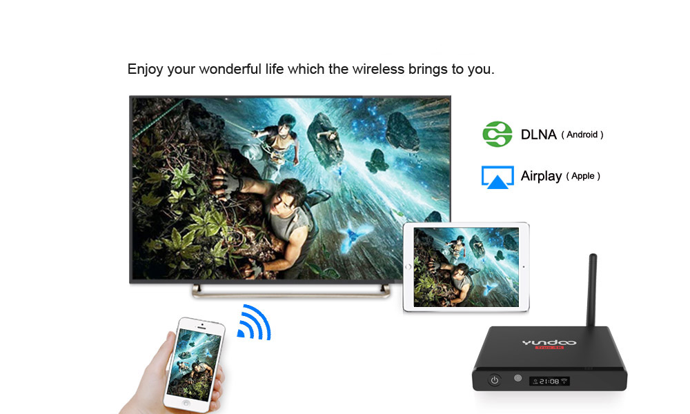 YUNDOO Y7 Android 6.0 TV Box with 4K x 2K Amlogic S905X Quad Core LED Display 64bit Mini PC