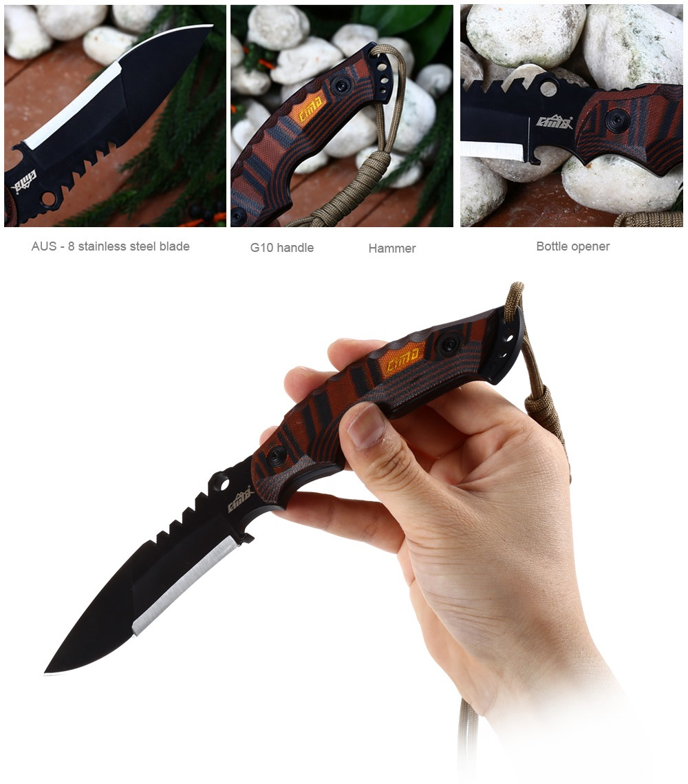 CIMA G18 Fixed Blade Knife with G10 Handle / Bottle Opener