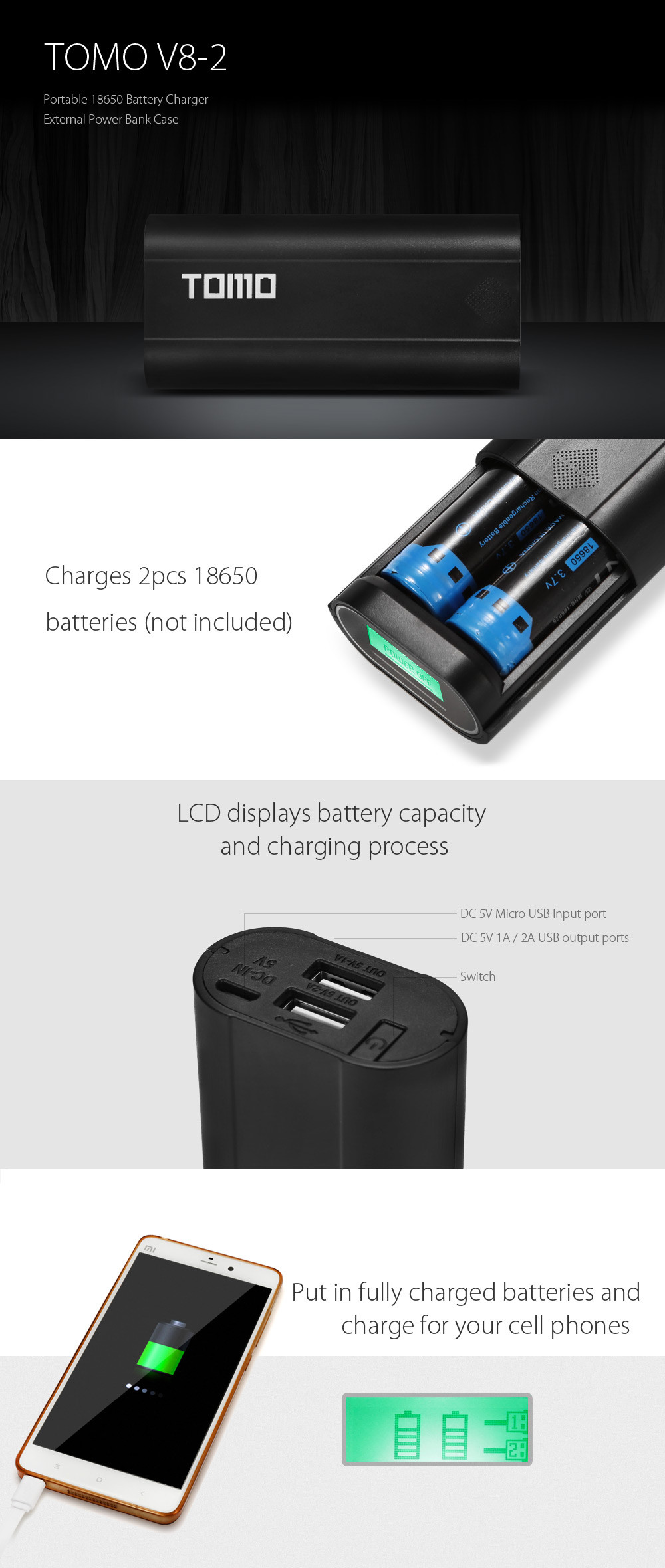 TOMO V8 - 2 Practical 18650 USB Battery Charger Handy LCD Dual Slots External Power Bank