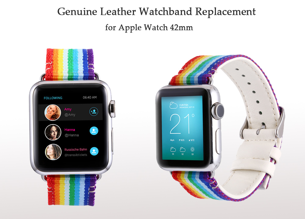 Colorful Pattern Genuine Leather Watchband for Apple Watch 42mm Ultra-thin Strap Wristband Replacement
