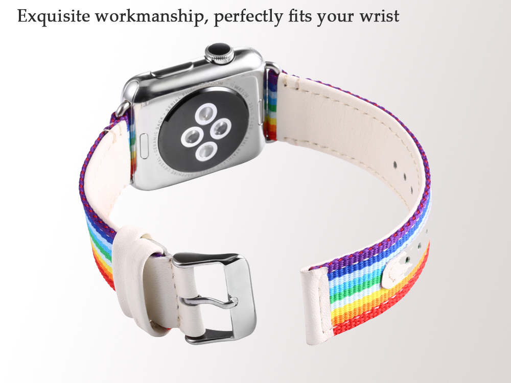 Colorful Pattern Genuine Leather Watchband for Apple Watch 38mm Ultra-thin Strap Wristband Replacement