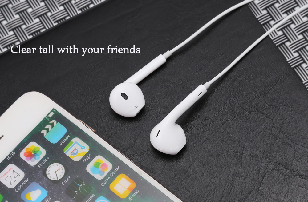Universal Stereo In-ear Earphones 1.2m Cable with Microphone Volume Control for iPhone 7 / 7 Plus / 6S / 6 Plus