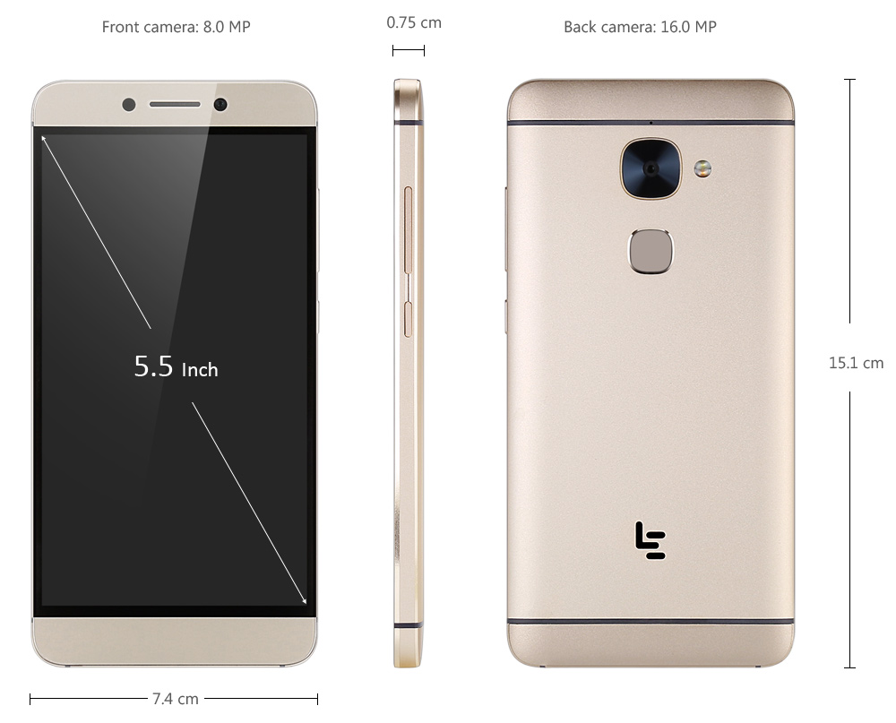 LeTV Leeco Le 2 X620 Android 6.0 5.5 inch 4G Phablet Helio X20 Deca Core 2.3GHz 4GB RAM 32GB ROM 16.0MP Rear Camera Fingerprint Scanner Bluetooth 4.2 Type-C