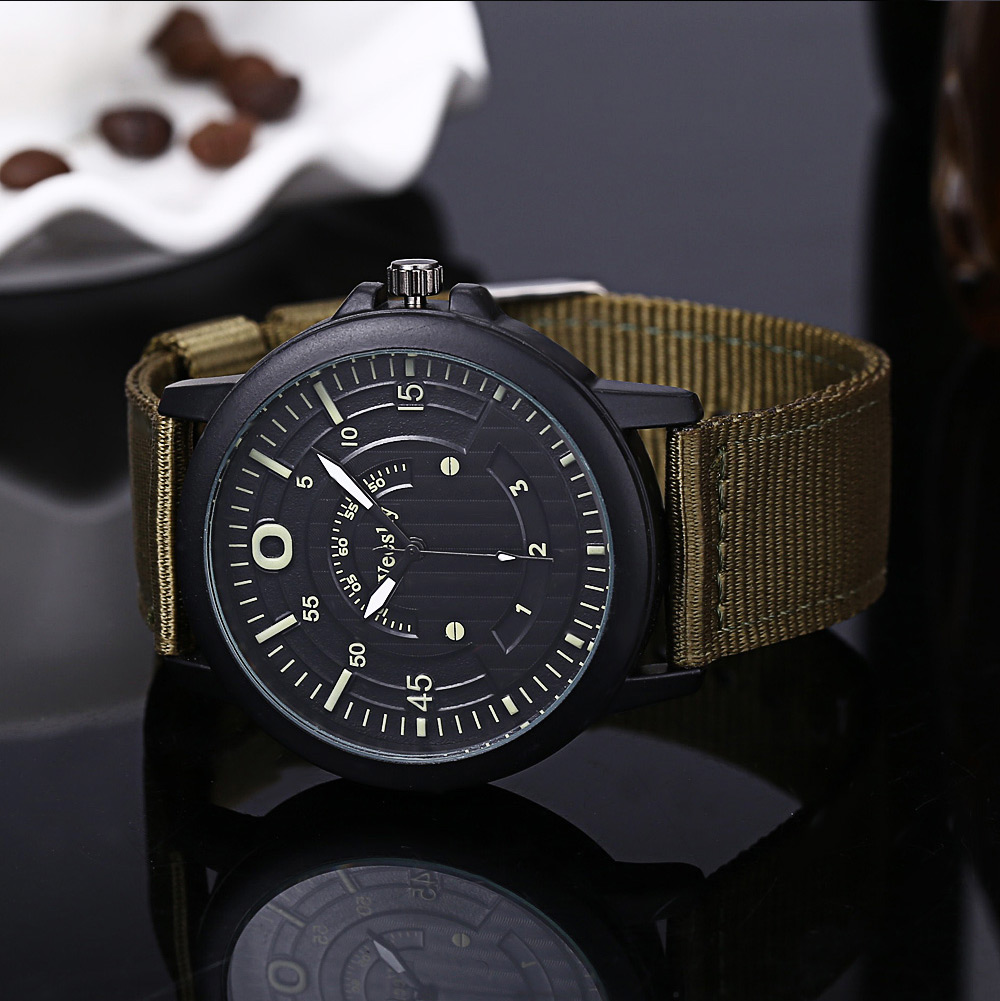 Weesky 6019 Casual Male Multiple Scales Quartz Watch with Canvas Strap