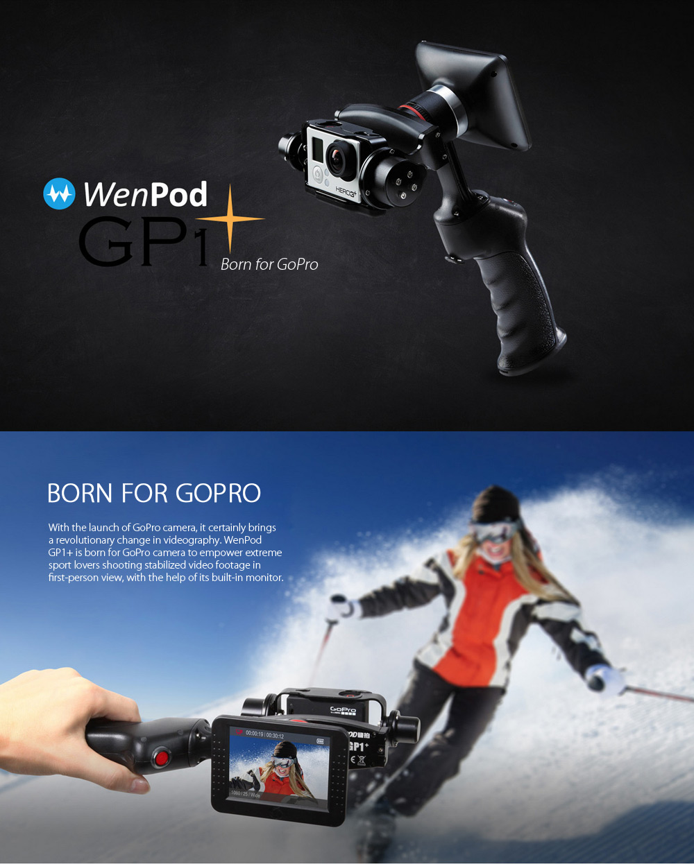 Wenpod GP1+ Smart Dual Axis Handheld Stabilizer for GoPro 3 / 3+ / 4 360 Degree Rotation