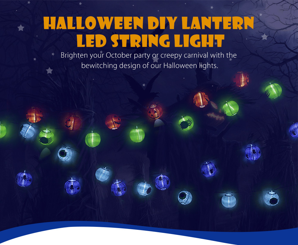 BRELONG 2m 10-LED Lantern String Light for Halloween Party Creepy Carnival