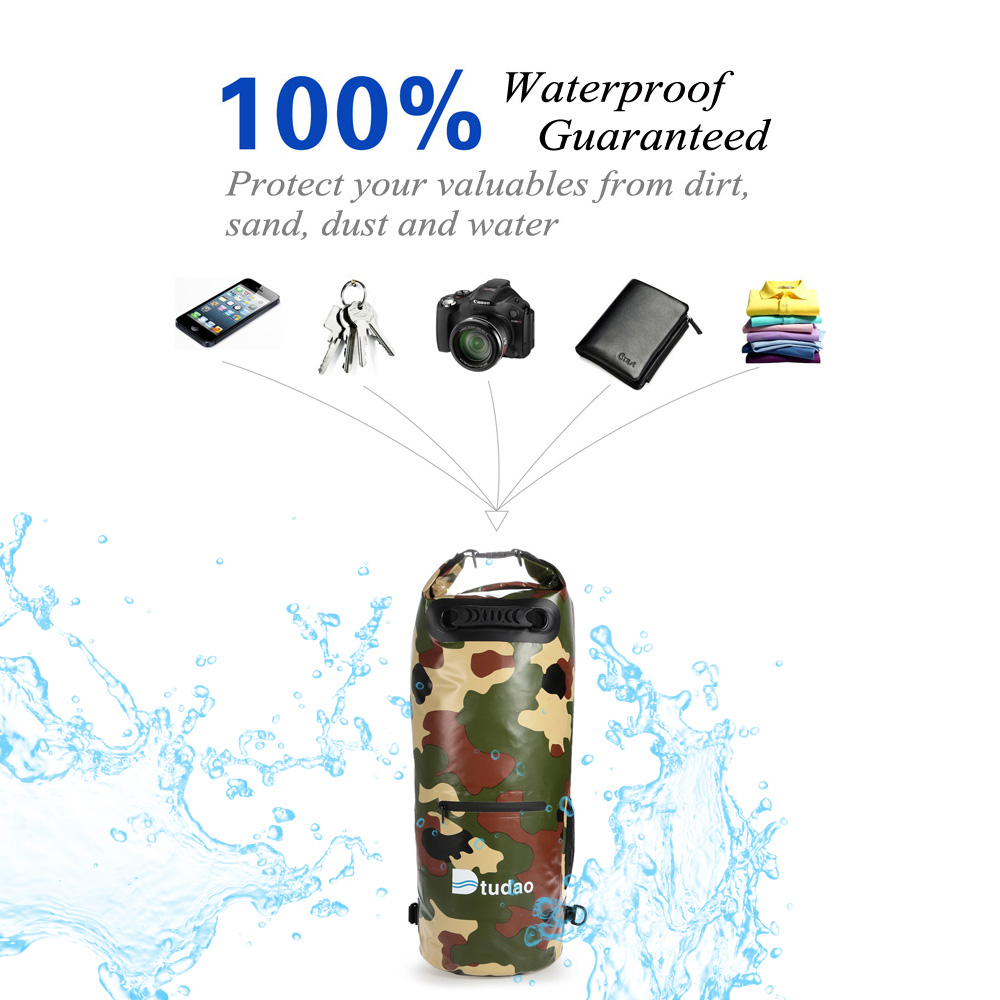 Dtudao 30L PVC Tarpaulin Waterproof Dry Bag with Strap / Handle