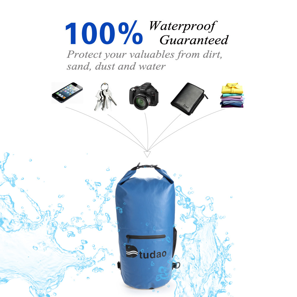 Dtudao 20L PVC Tarpaulin Waterproof Dry Bag with Strap