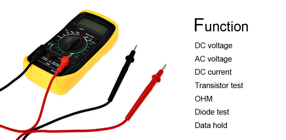 XL8301 1.75 inch LCD Handheld Digital Multimeter with Green Backlight for Student / Hobbyist / Electrician