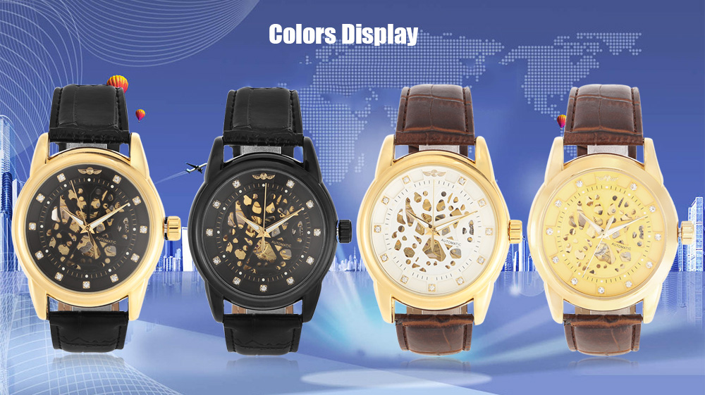 WINNER 1526 Business Male Automatic Mechanical Watch with Transparent Hollow-out Back Cover