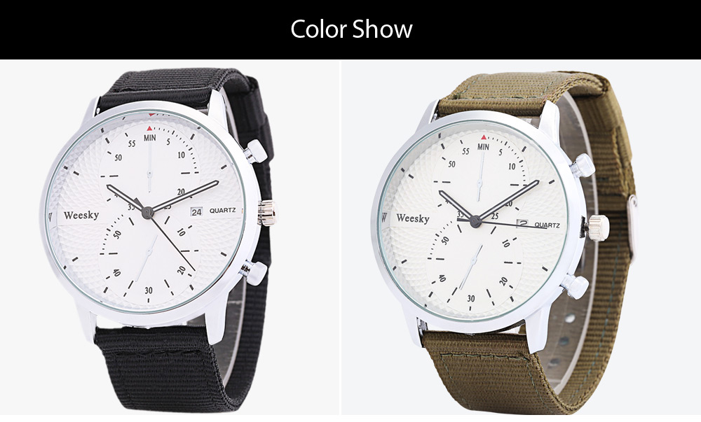 Weesky 1228G Casual Male Quartz Watch Gourd-shaped Decorative Sub-dial Wristband
