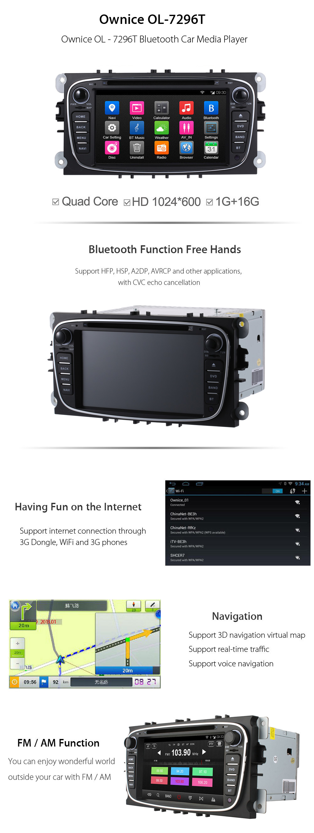 Ownice OL - 7296T 7.0 inch Bluetooth Quad Core Android 4.4 Car DVD Player Support Navigation WiFi FM