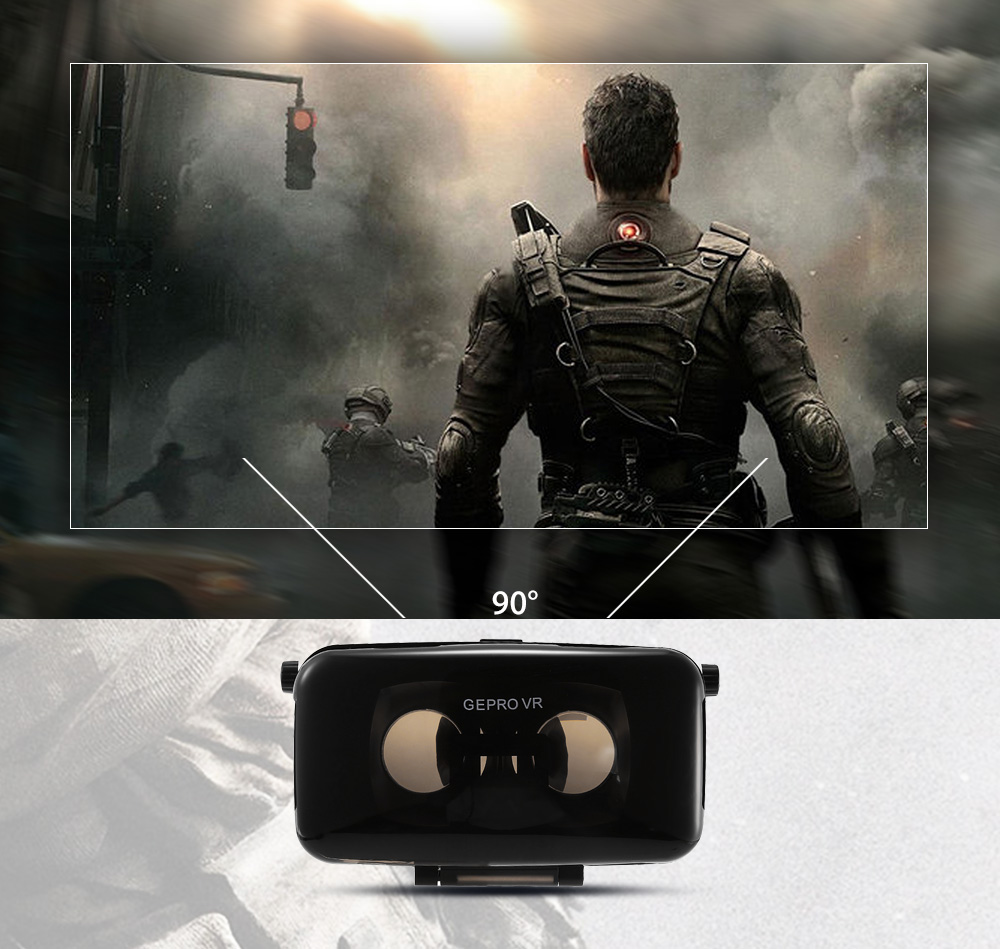 GEPRO VR Virtual Reality 3D Glasses with Foldable Earphones for 4 - 6 inch Smartphone IPD Focal Length Adjustment