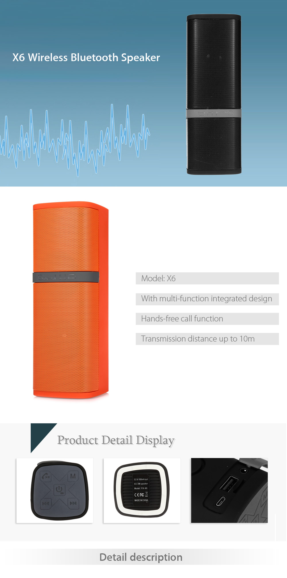 X6 Wireless Bluetooth Speaker Music Player Supporting Volume Control for Outdoor