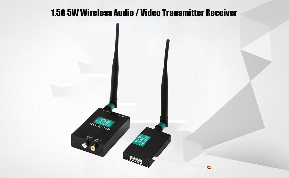 1.5G 5W Wireless Audio / Video Transmitter Receiver 50000bps with 4 Channel