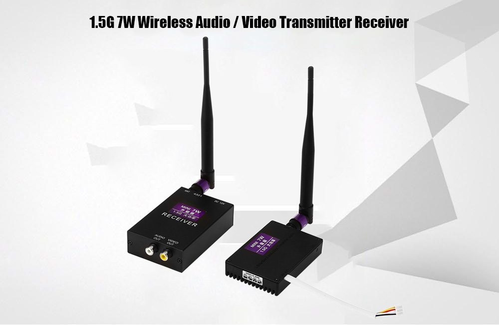 1.5G 7W Wireless Audio / Video Transmitter Receiver 50000bps with 4 Channel