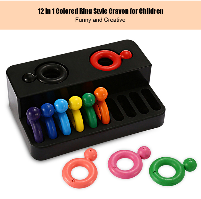 12PCS Colorful Ring Pattern Crayon for Crayoning
