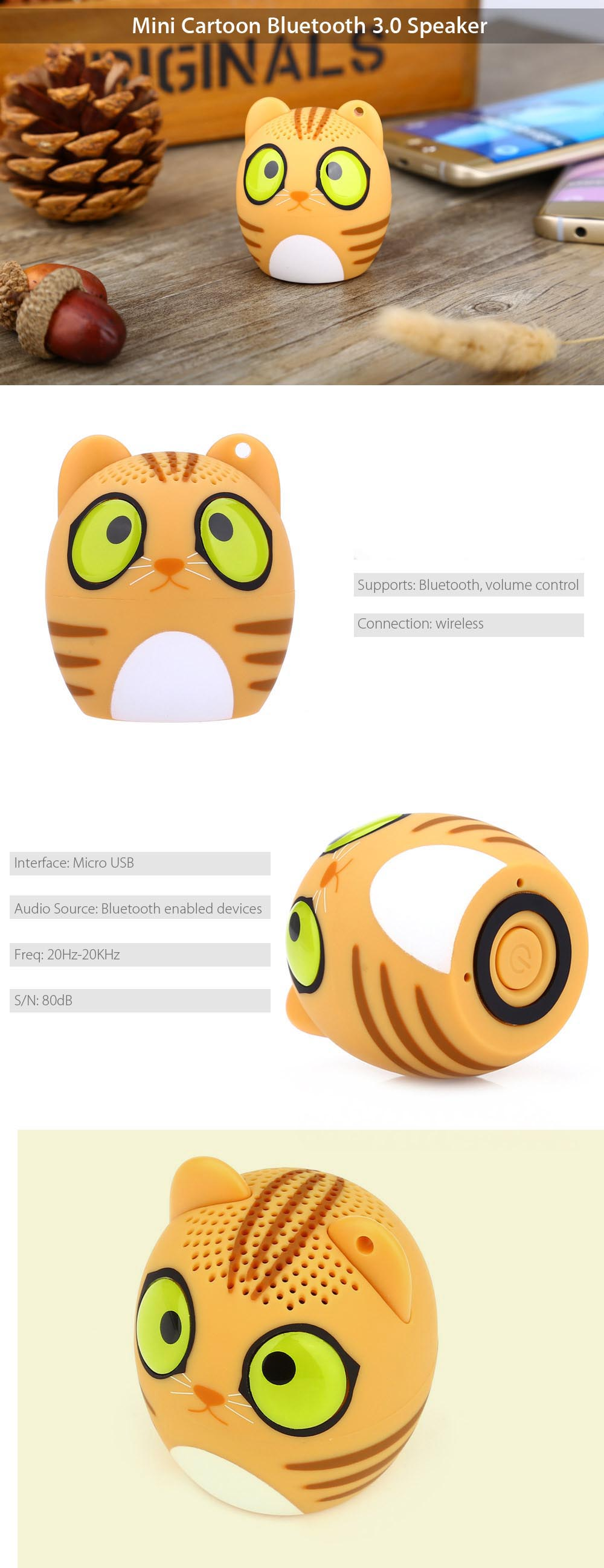 Mini Cartoon Bluetooth 3.0 Speaker Supporting Phone Call Simple Button