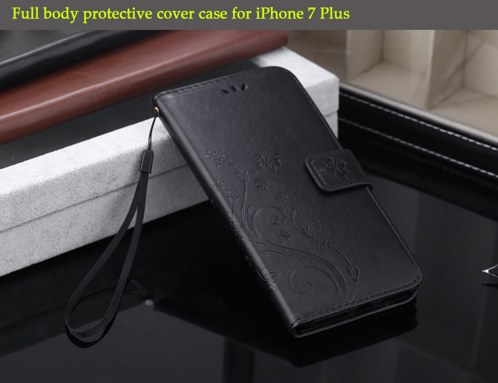 PU Leather Flip-open Full Body Protective Case for iPhone 7 Plus with Credit Card Slot Phone Stand Holder