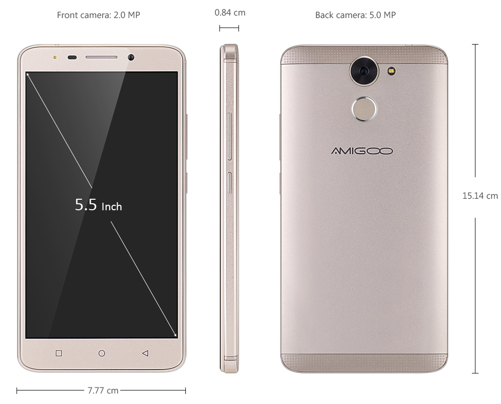 AMIGOO R700 Android 6.0 5.5 inch 3G Phablet MTK6580 Quad Core 1.3GHz 512MB RAM 8GB ROM Fingerprint Scanner Smart Wakeup