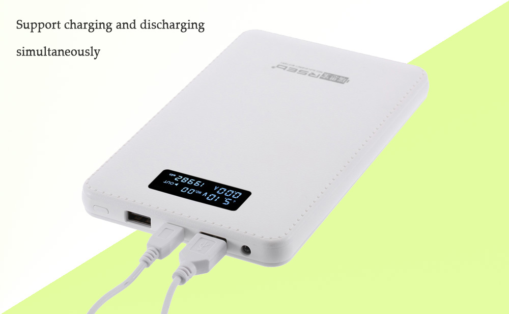 RSEB P - 201A 19999mAh Portable Power Bank with LCD Screen Dual USB Output Voltage Current Display LED Flashlight