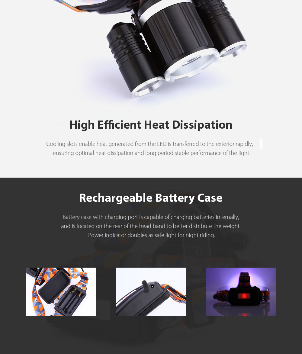 UKing ZQ - X819 Cree T6 R5 2000Lm Rechargeable LED Headlamp Dual Light Source