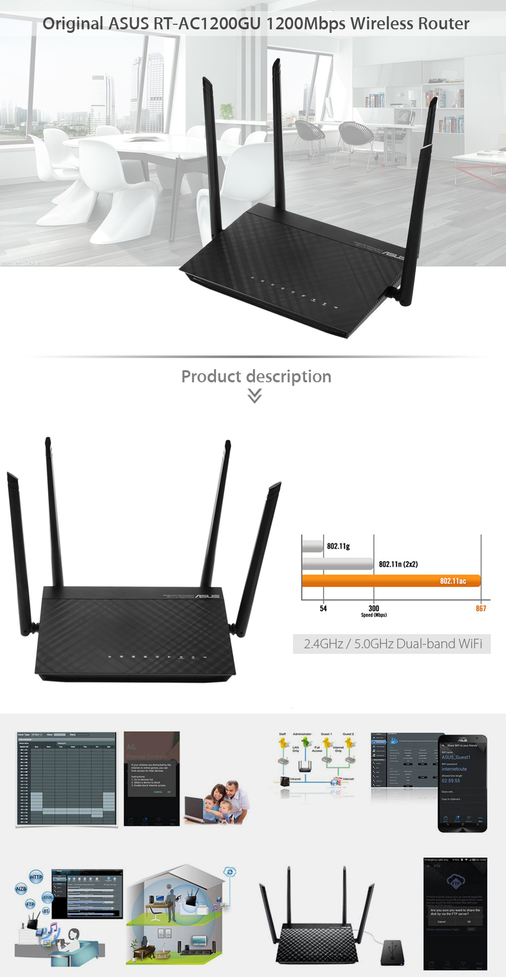 Original ASUS RT - AC1200GU 1200Mbps Wireless Router