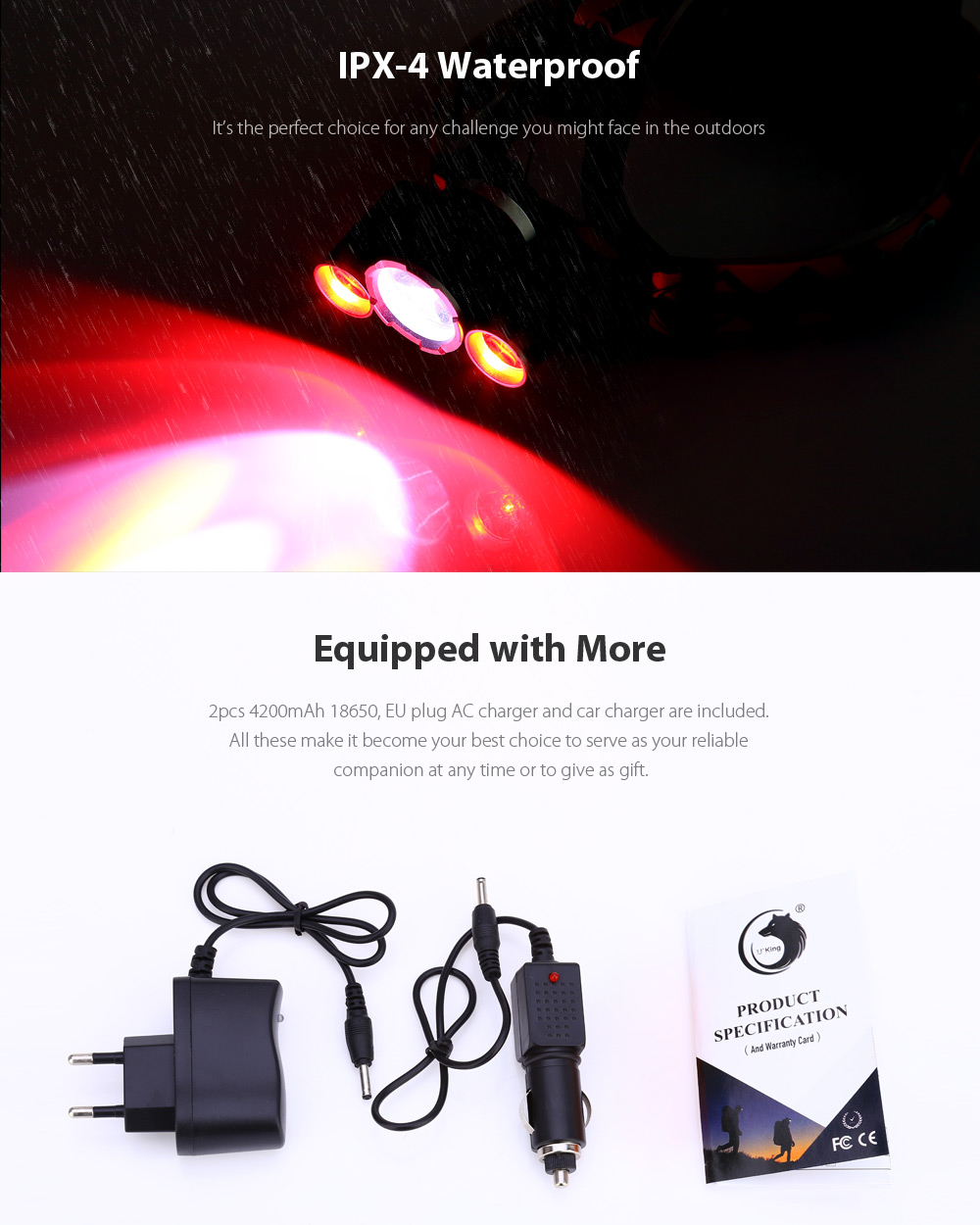 UKing ZQ - X820 2000Lm Cree T6 R5 18650 LED Headlamp Alert Red Light