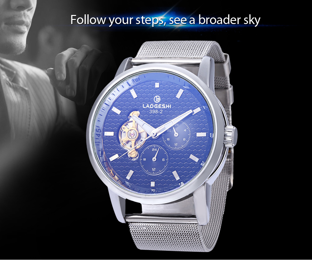 Laogeshi 398 - 2 Business Men Working Sub-dial Automatic Mechanical Watch with Steel Net Strap