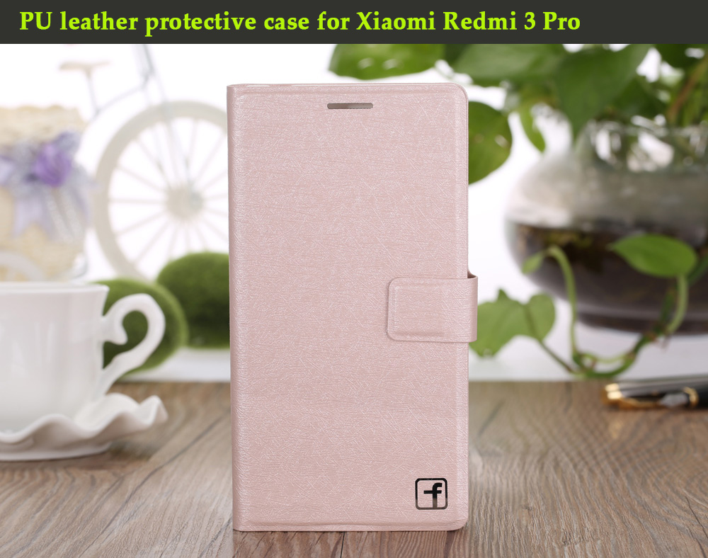 ASLING PU Leather Flip-open Style Full Body Protective Case for Xiaomi Redmi 3 Pro with Credit Card Slot Phone Stand Holder