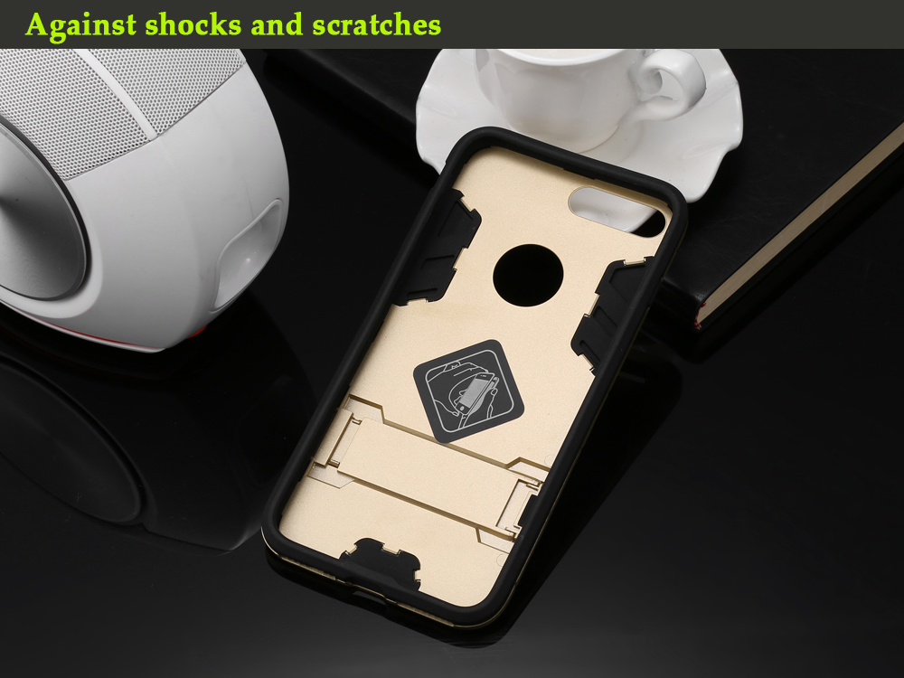 Armour Pattern Protective Phone Back Cover Case for iPhone 7 Plus with Mobile Stand Holder