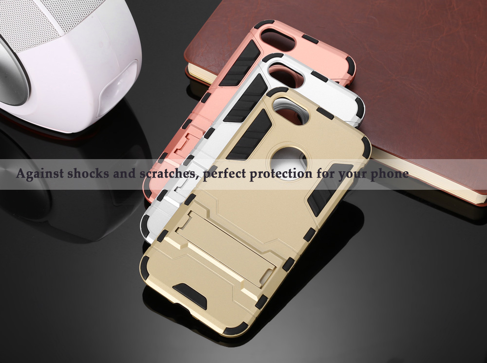 Armour Pattern Protective Phone Back Cover Case for iPhone 7 with Mobile Stand Holder