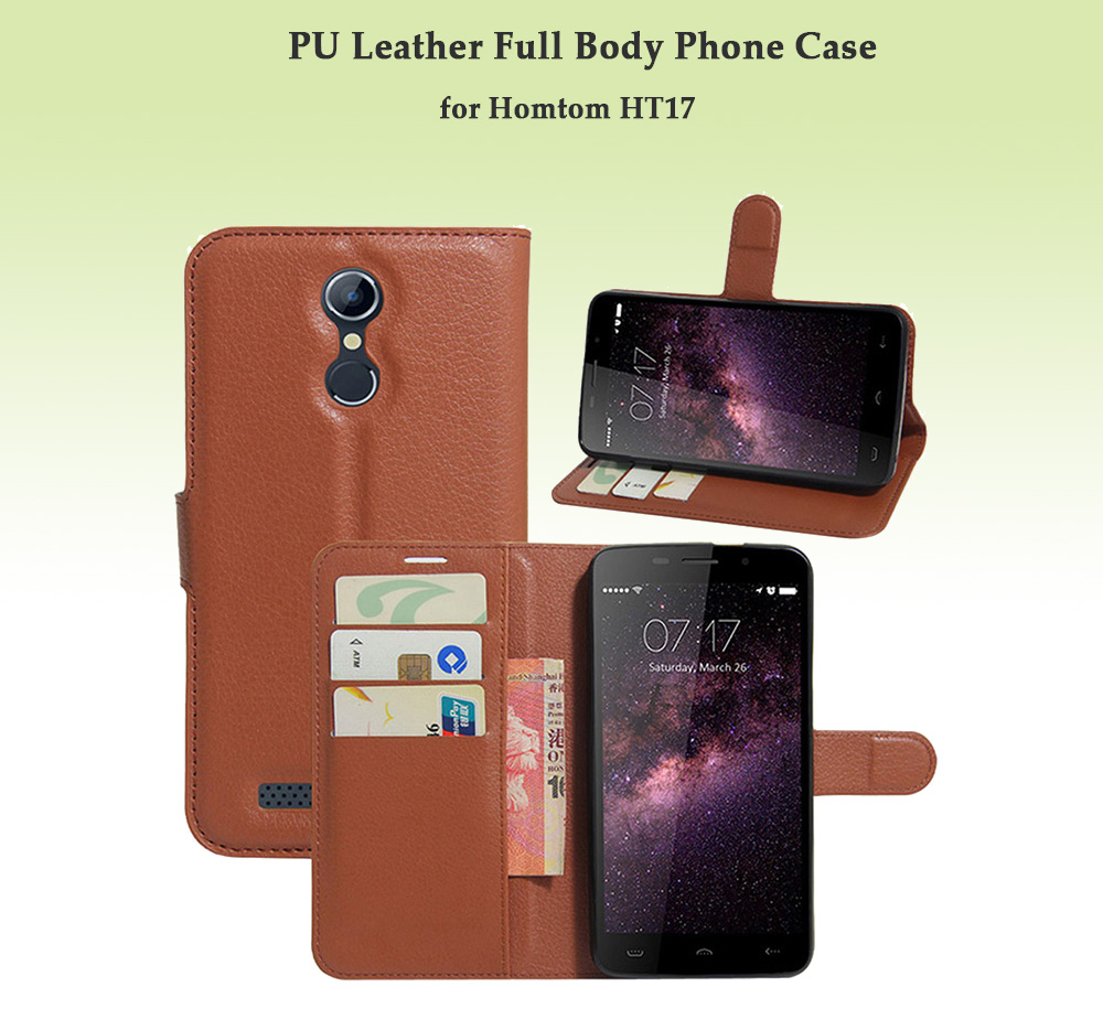 PU Leather Wallet Protective Full Body Phone Case for Homtom HT17 with Stand Bracket Card Slots