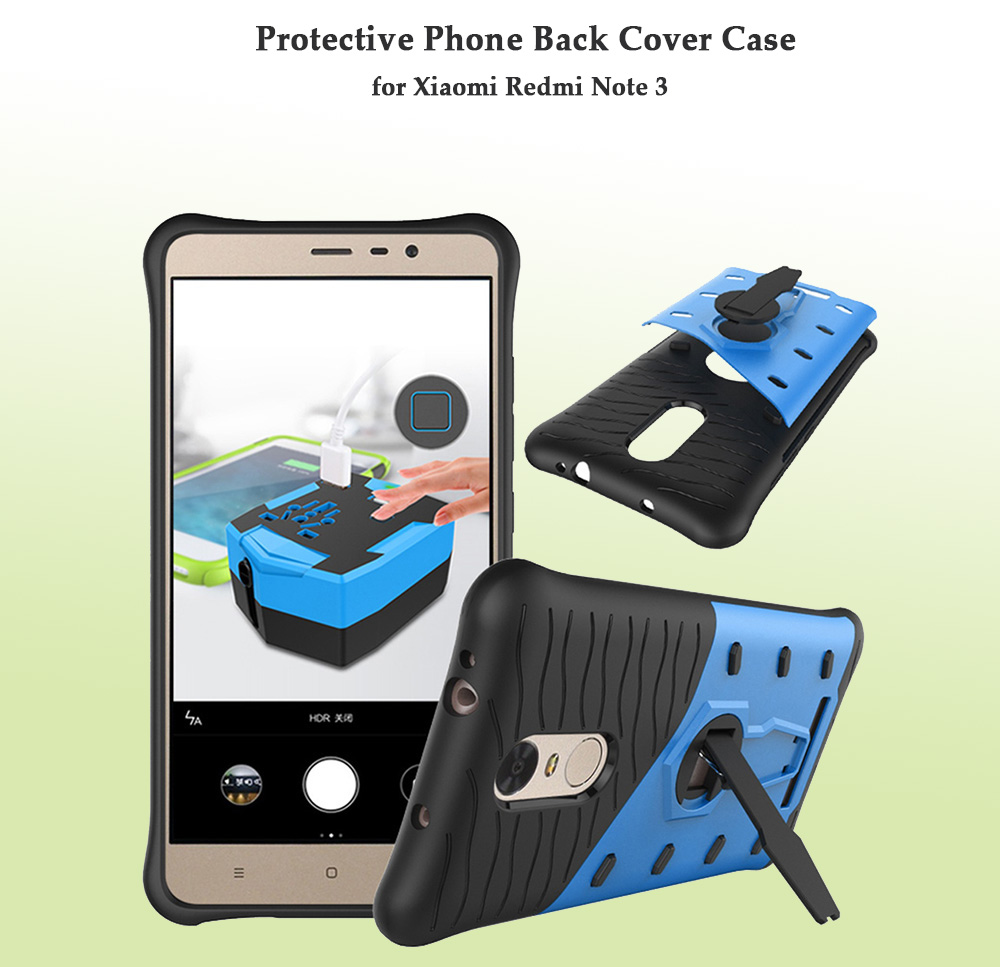Silicone Protective Back Cover Case for Xiaomi Redmi Note 3 with Phone Stand Holder