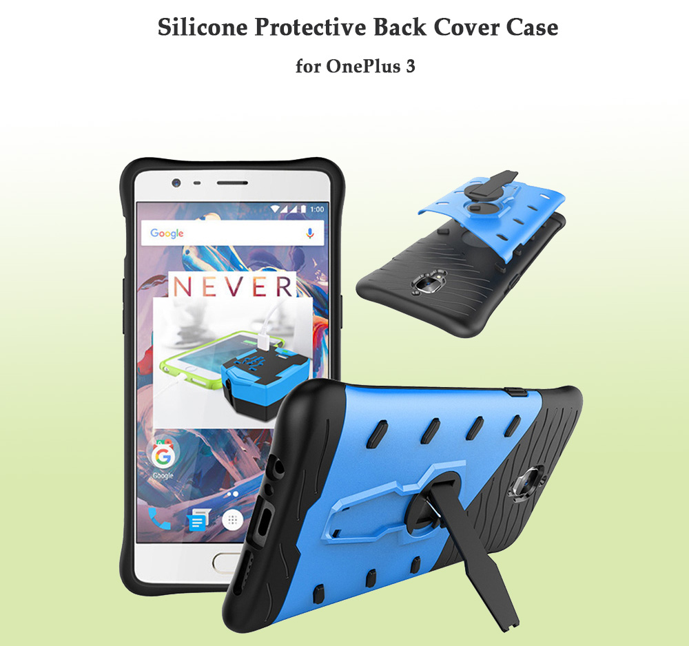 Silicone Protective Back Cover Case for OnePlus 3 with Phone Stand Holder