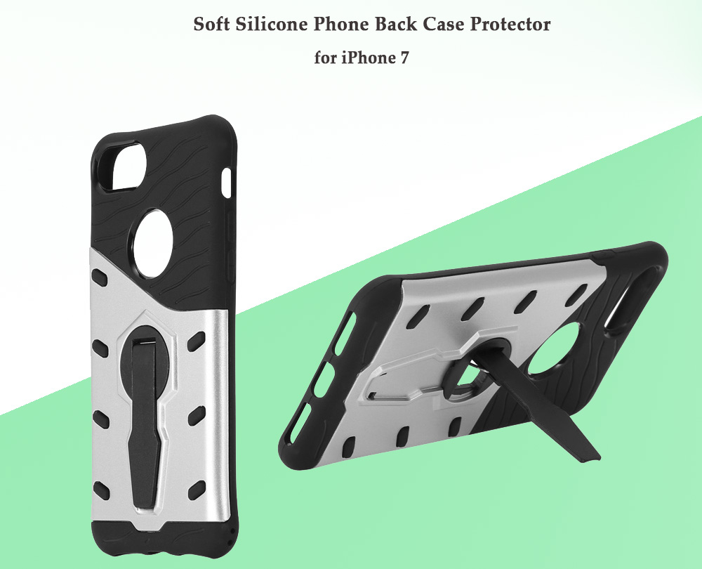 Luanke Silicone Protective Back Cover Case for iPhone 7 with Phone Stand Holder