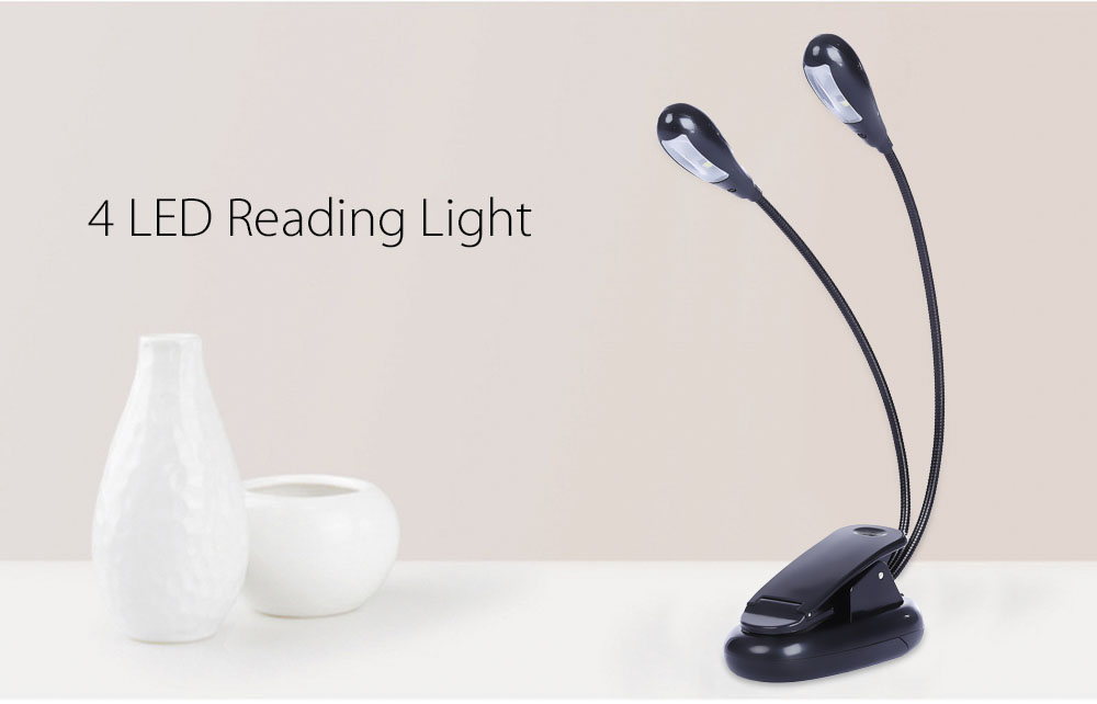 Outdoor Camping Dual Head 4-LED Reading Light Travel Book Light with Clip