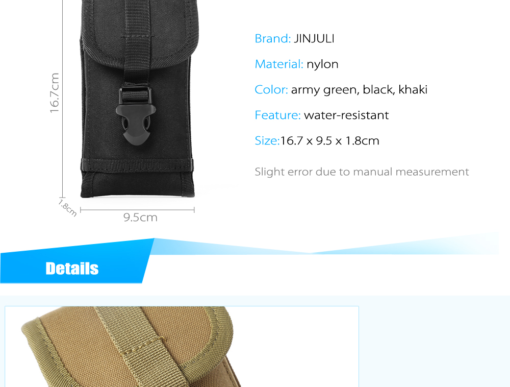 JINJULI Lightweight Water-resistant Nylon Waist Bag Mobile Phone Pouch
