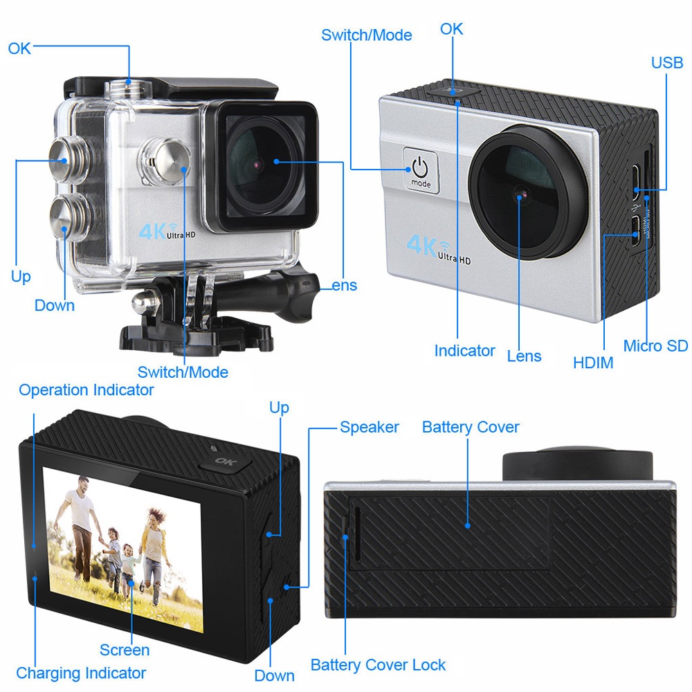 Q6H 4K 2.0 pollici LCD Display WiFi Azione Camera