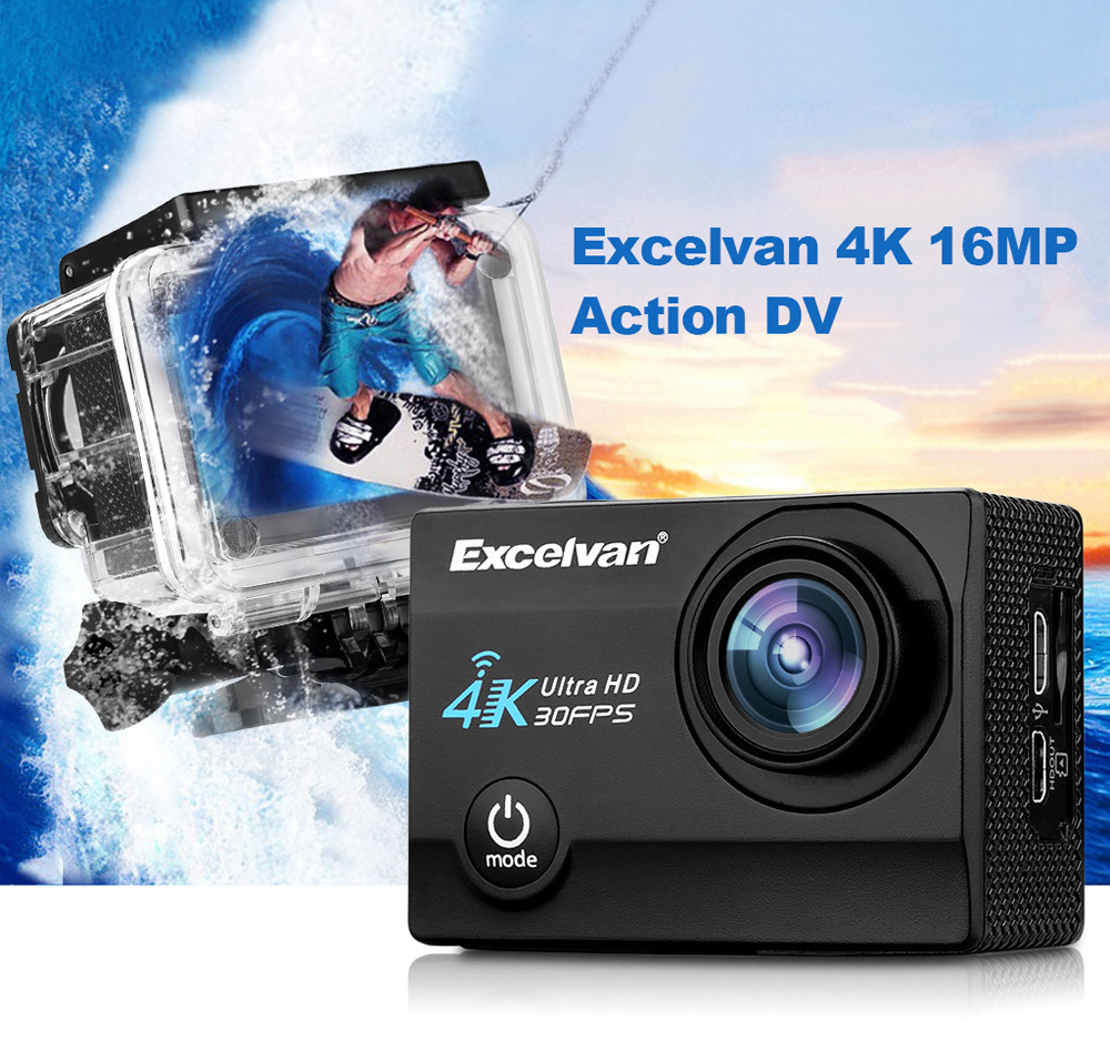 Excelvan Q8 4K WiFi Action Sports Camera 170 Degree FOV 2.0 inch LCD Screen Allwinner V3 Chip